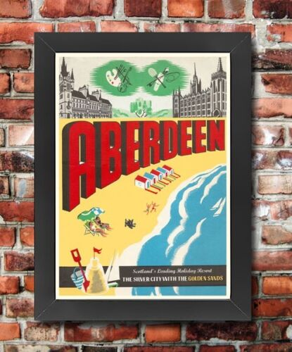 TT9 Vintage Scotland Aberdeen Golden Sands Framed Travel Poster Print A3//A4