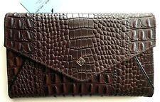 Antonio Melani Brown Croco Envelope Flap Embossed Leather RFID Wallet R