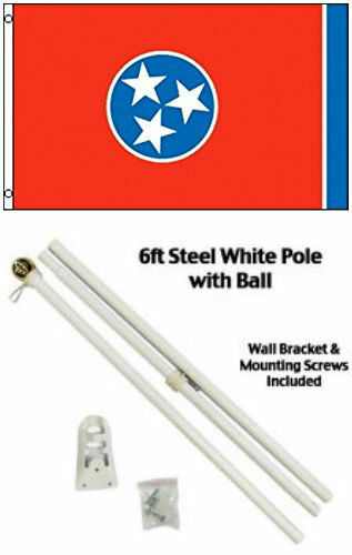3x5 State of Tennessee Flag White Pole Kit Gold Ball Top 3/'x5/'
