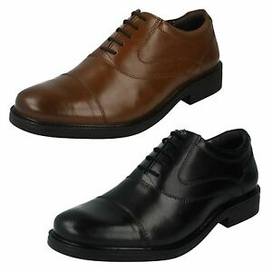 Mens Leather Black/Tan Hush Puppies Shoes UK Sizes 6 - 12 Rockford Oxford