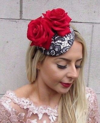 Black Red Rose Flower Pillbox Hat Fascinator Races Rockabilly 1950s Vtg Hair 517