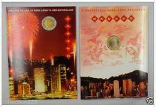 Hong Kong 1997 Return to China Bimetal Coin 2pcs in Folder 1997年香港回归纪念币 两件 面值20元