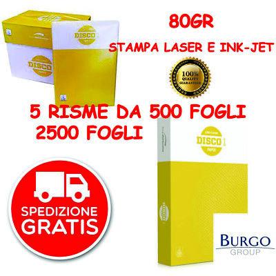 CARTA A4 80 GRAMMI ULTRA BIANCA STAMPANTE FOTOCOPIE 50 RISME DA 500 FOGLI LASER