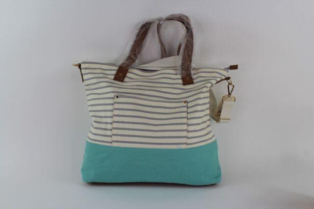 ***NEW*** Women/'s Tote Handbag Merona Aqua//White//Gray Stripe A0013-46T