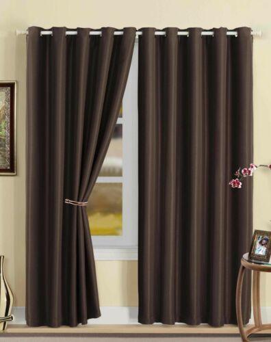 Luna blackout imitation soie entièrement doublés à œillets ringtop rideaux ~ beaucoup de couleur et tailles