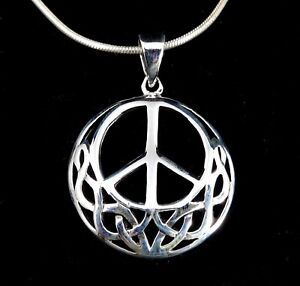solid 925 sterling silver pendant hippies symbol Peace