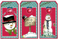12 CHRISTMAS SNOWMAN (108) SCRAPBOOK CARD EMBELLISHMENTS HANG/GIFT TAGS