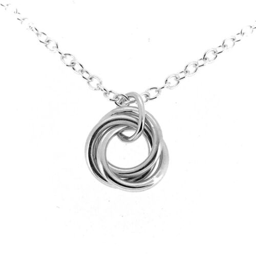 Mini Love Knot Russian Wedding Ring Solid Sterling silver Pendant Necklace