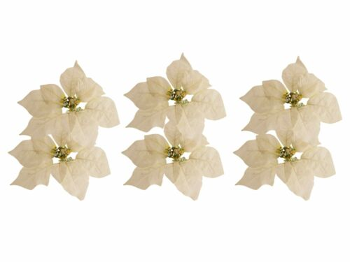Artificial Holiday Flower 6 Pack, 7 in Poinsettia Clip On Christmas Ornaments
