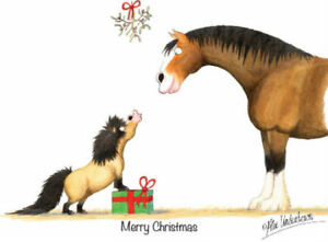 Christmas Horse Cartoon.Details About Thelwell And Alex Underwood Horse Pony Cartoon Christmas Card Labrador Spaniel
