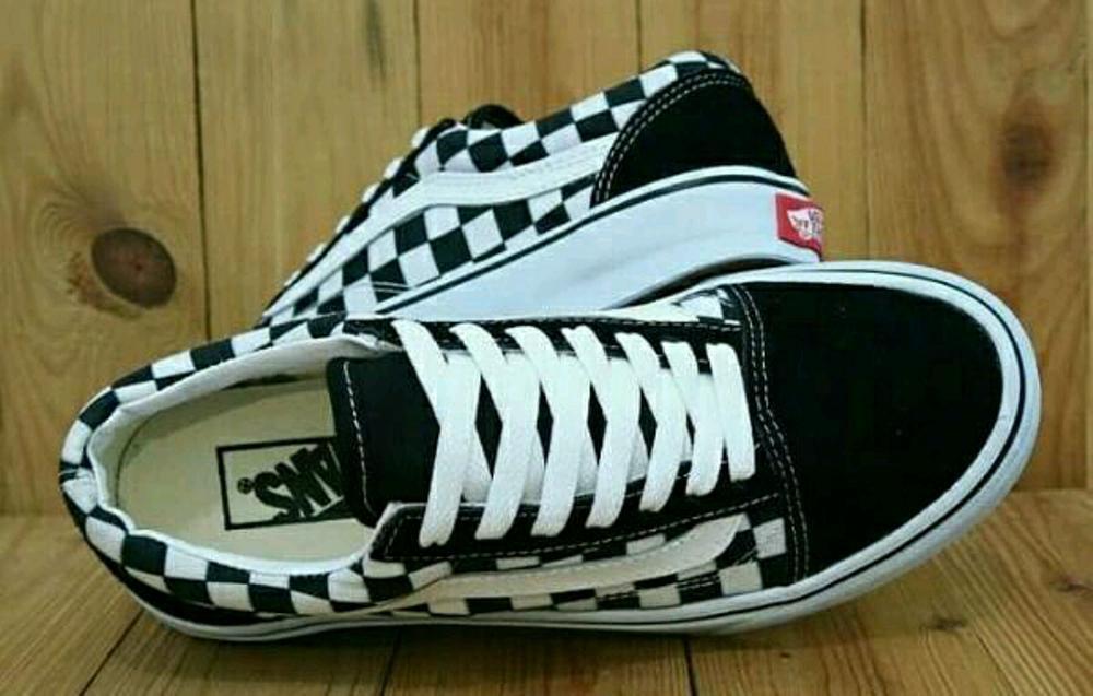 Skool Primary Checker Vans Old Negro blancoo  Old Skool Damas