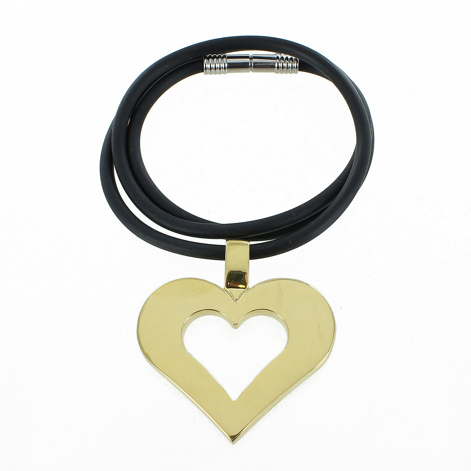 Rochet Roma Cute Cutout Heart gold Plated Stainless Steel Pendant with Cord