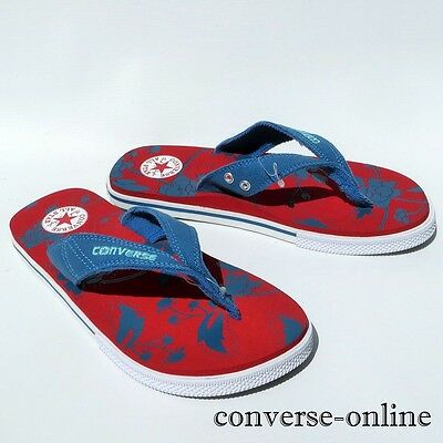 Womens Mens CONVERSE All Star THONG Blue Red White SANDALS Flip Flops SIZE UK 5