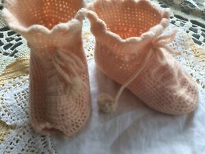Vintage-Doll-Knit-Booties-Shoes-Handmade-Pink-Shabby-Baby-Bear-Primitive-A34