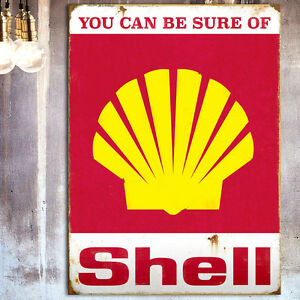 Vintage-Shell-Petrol-Tin-Plate-Wall-Sign-Car-Garage-Shed-Man-Cave-Pad-Christmas