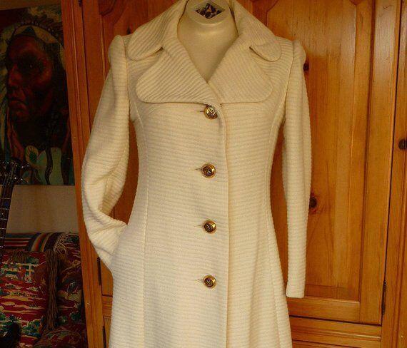 Vintage 60 70s Midi Maxi Coat Winter White Wool S… - image 3