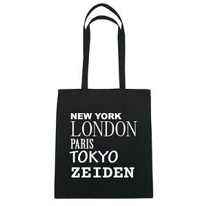 New York, London, Paris, Tokyo ZEIDEN - Jutebeutel Tasche - Farbe: schwarz