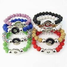 8pcs/lot  rhinestone beads snap button bracelet fit DIY chunk snap button charm