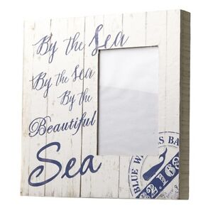 Shabby-Chic-Rustic-Nautical-White-Wooden-034-By-the-Sea-034-Photo-Block-24x24cm