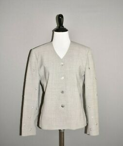 ST-JOHN-GRIFFITH-GRAY-795-Grommet-Sleeve-Button-Down-Jacket-Size-4