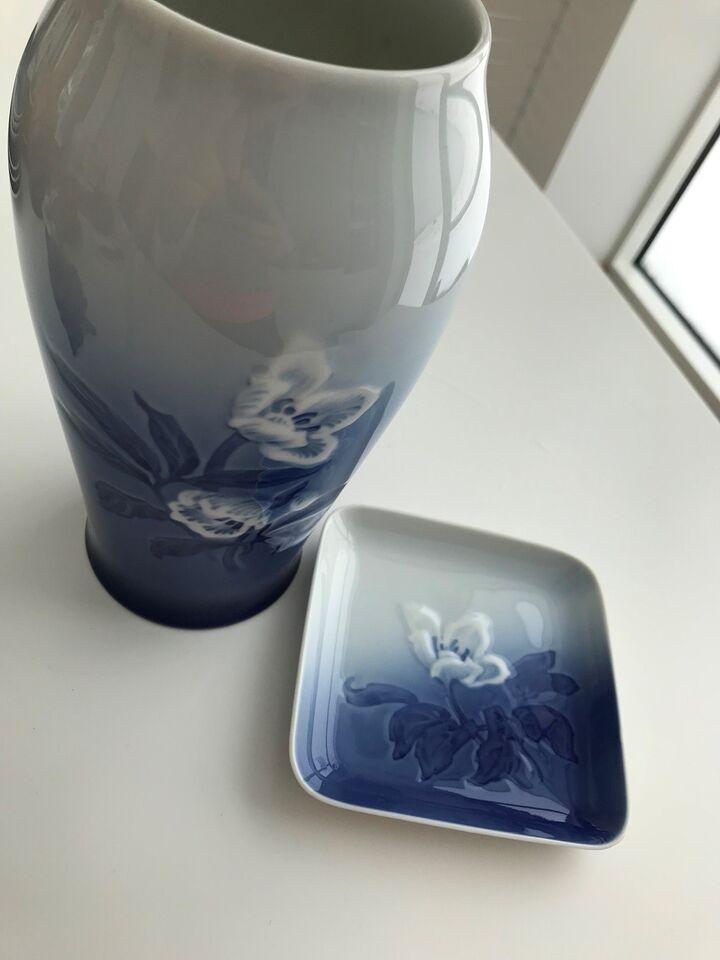 Vase, Vase 21cm, lille fad Julerose 682