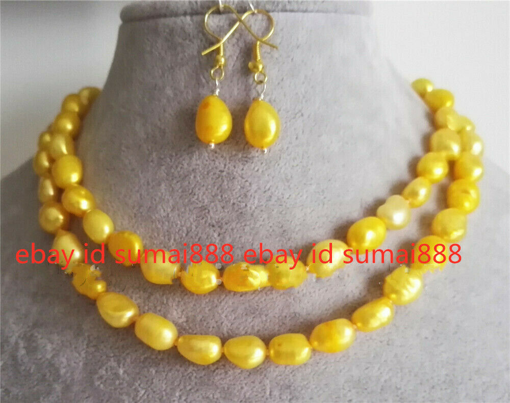 Cultured 8-9mm Yellow Baroque Fresh Water Pearl Necklace Earrings Set 18/25/36''