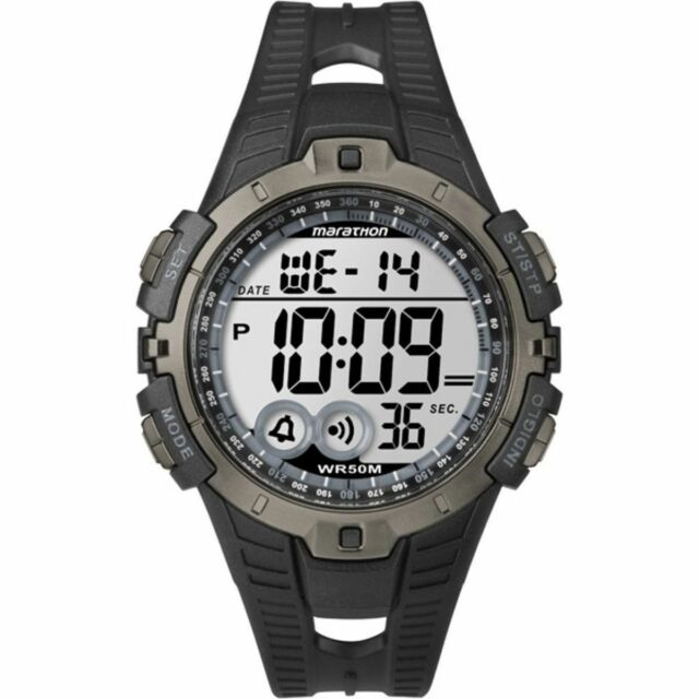 Timex T5K802, Men's Marathon Black Resin Watch, Indiglo, Alarm, Stopwatch