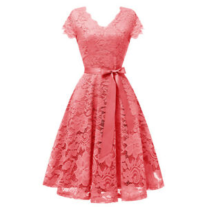 Women-039-s-Vintage-Floral-Lace-Dress-Cap-Sleeve-Bridesmaid-Party-Cocktail-Dresses