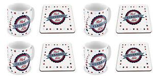 Best Ever Variation Novelty Gift Mug Set w/ Matching Coaster - Blue & Red