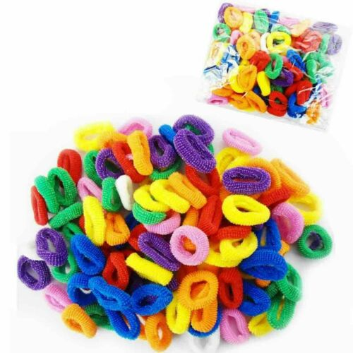 100 Hair Mini Bobbles Hairband Elastic Colour Bands Kids Baby Ponytail Stretchy