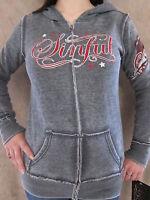 Sinful By Affliction Womens Bound Gray Rhinestone Zipper Hoodie Shirt Small