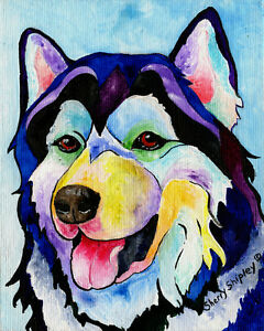 HUSKY-8X10-DOG-Colorful-Print-from-Artist-Sherry-Shipley