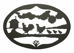 Rooster-Hen-Chicks-Wall-Hanging-Decor-Chicken-Plaque