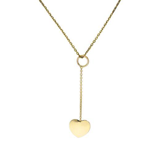 Real 375 9ct Dorado Corazón Collar de gota 16-20 pulgadas