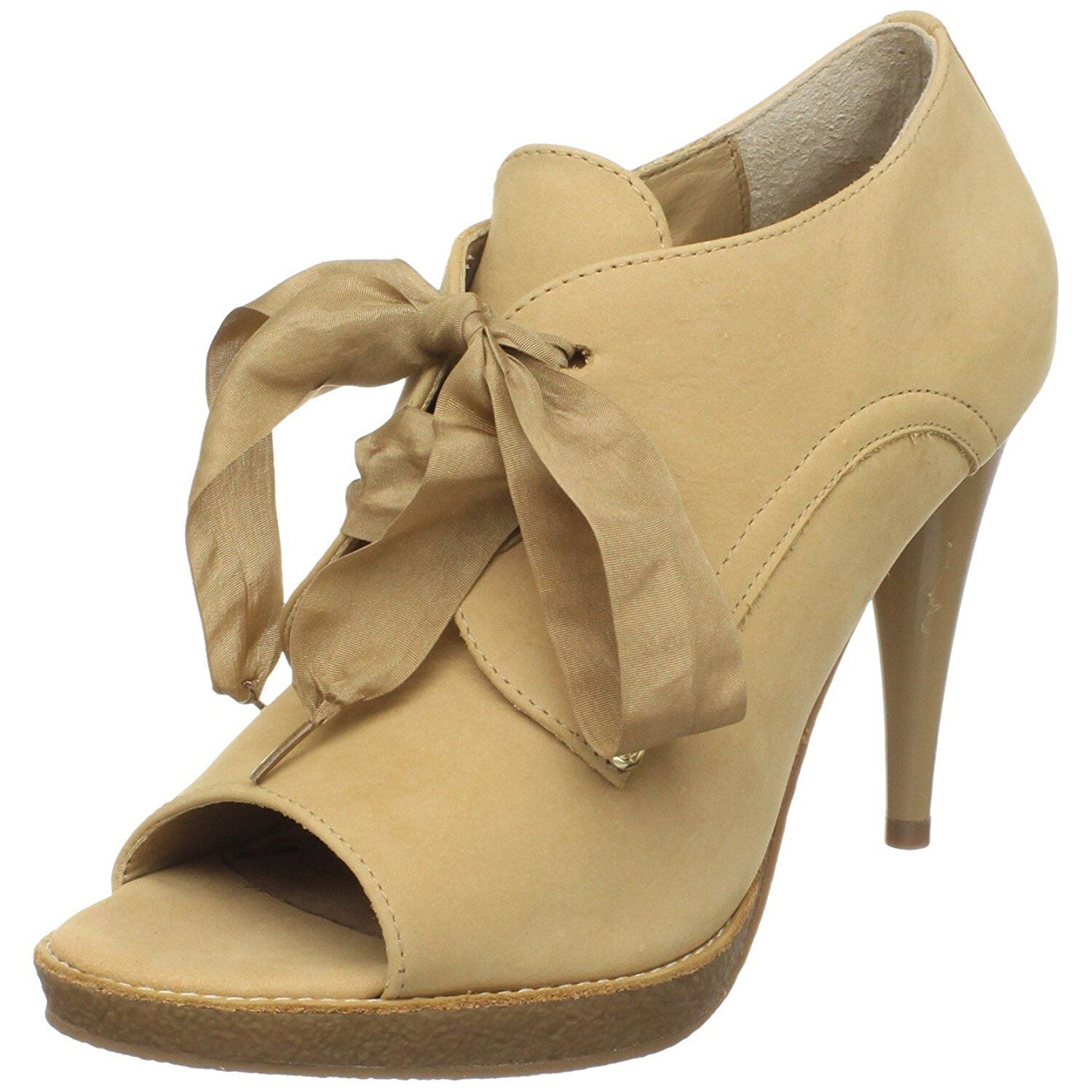 Juicy Couture Georgine Open Toe Bootie Heels shoes in Natural Suede Size 7.5