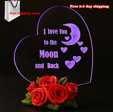 Glass Heart I Love You To The Moon and Back Gift For Her Mothers Day Colors