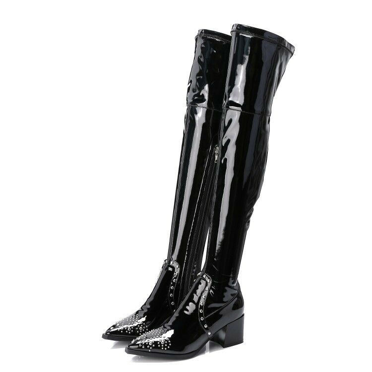 femmes Chunky Block Mid High Heel Patent Leather Thigh Over the Knee High bottes