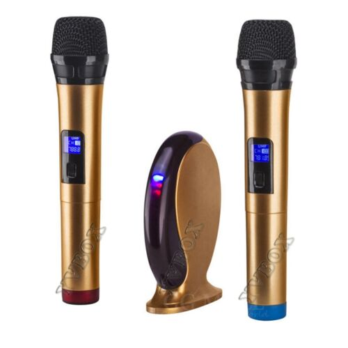 Dual HandHeld UHF Bluetooth Wireless Microphone System Mixer Karaoke Machine Set