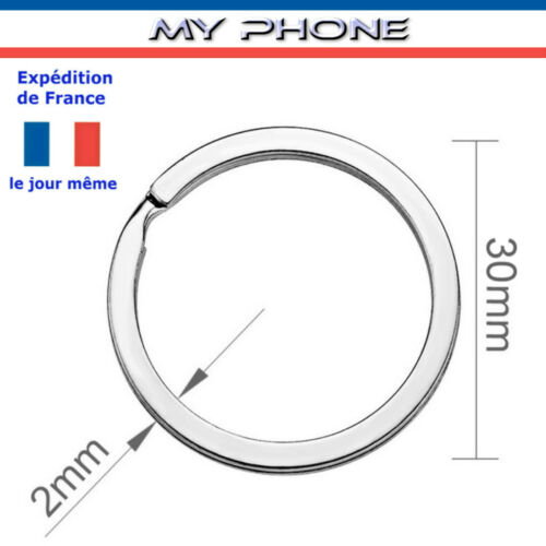 ANNEAUX porte clés diamètre 30 mm couleur Argent Métal Fendu plat Bijoux clefs