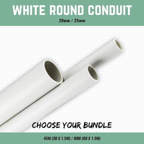 20MM OR 25MM WHITE PLASTIC ROUND CONDUIT 1.5M LENGTHS 45M 90M CABLE CONDUIT