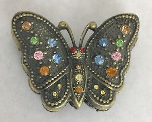 Butterfly PILL Tinket BOX Jeweled Antique Gold Crystals ...