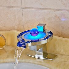 LED Glass Spout Bathroom Basin Faucet Waterfall Spout Vanity Sink Mixer Tap NEW