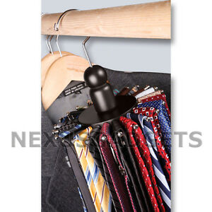 Rotating 24 Tie 8 Belt Closet Hanger Rack Organizer Ties