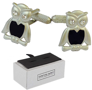 Metallic Owl Shaped Cufflinks Onyx-Art CK47 Cufflinks