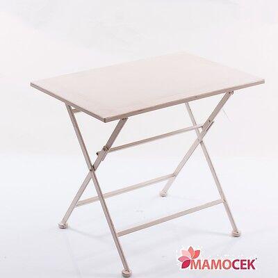Tavolino Tavolo Ferro Metallo Bianco Giardino Rettangolare 60x40 H75 Shabby Chic Qualità E Quantità Assicurate