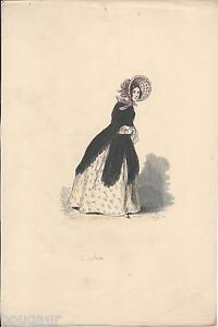 L-039-Actrice-GAVARNI-Gravure-sur-Bois-Aquarelle-1840-Francais-Peints-par-Eux-Meme