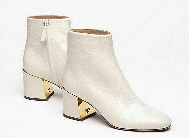 498 NEW Tory Burch JULIANA BOOTIE BOOTIE BOOTIE 65 Ankle Boots Shiny Leather Cream Ivory 9.5 03a72f