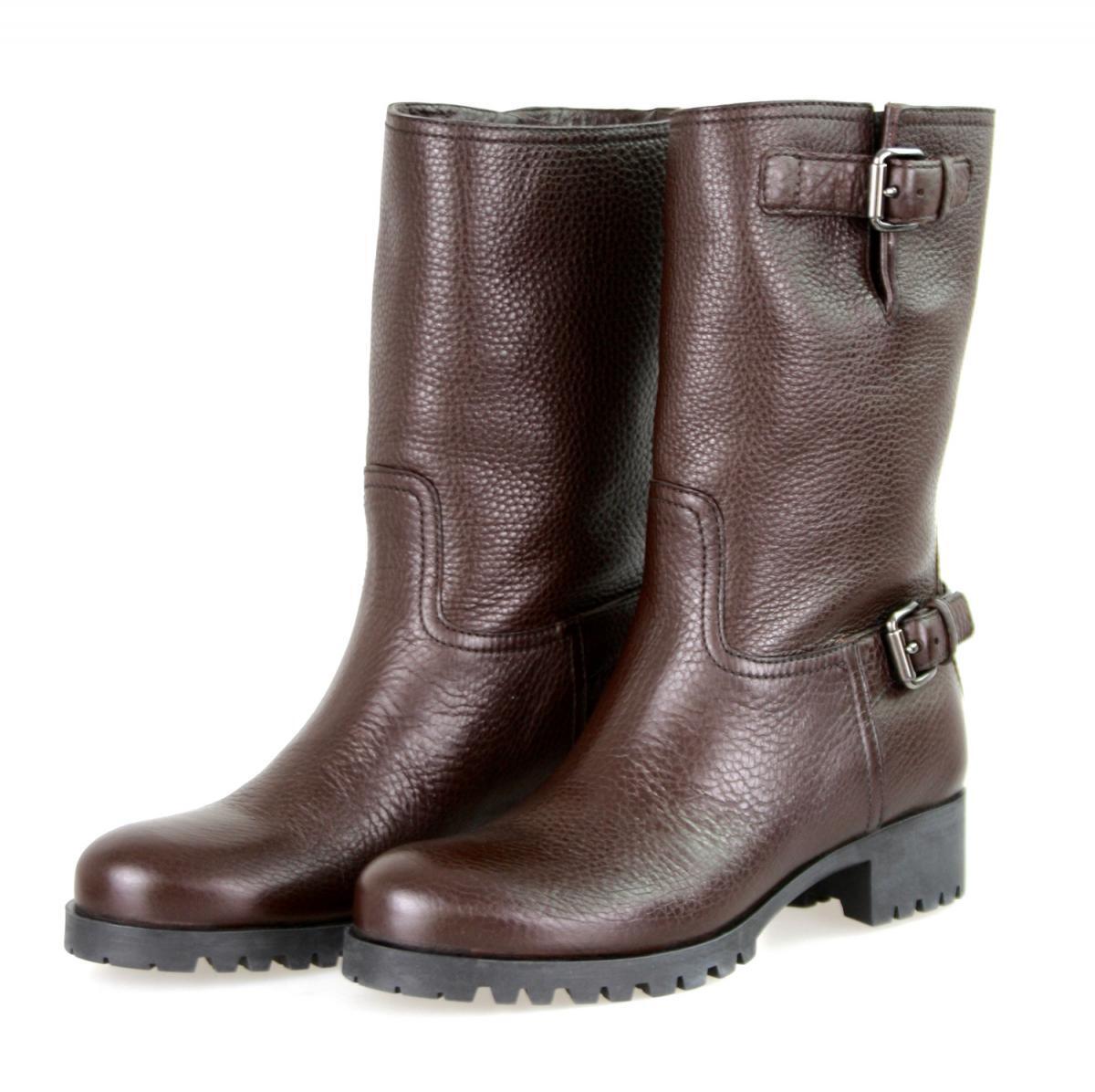Lujo prada botín zapatos botas 3u5785 Caffe marrón nuevo 38,5 39
