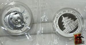 Lot of 2: 2003 China 10 Yuan .999 Silver 1oz Panda Coins ENCAPSULATED & SEALED