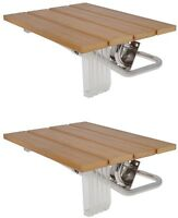 Lot 2folding Bath Seat Bench Shower Chair Wall Mount Solid Wood Construction